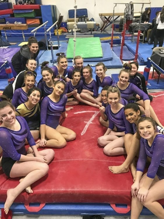 The Columbia River Chieftains, shown here this past winter, made it to the state gymnastics championship as a team for the 21st consecutive season. If they make it 22 in a row, it will be at a new venue. State gymnastics has been moved from the Tacoma Dome's Exhibition Hall to Sammamish High School in Bellevue. Photo by Alicia Green