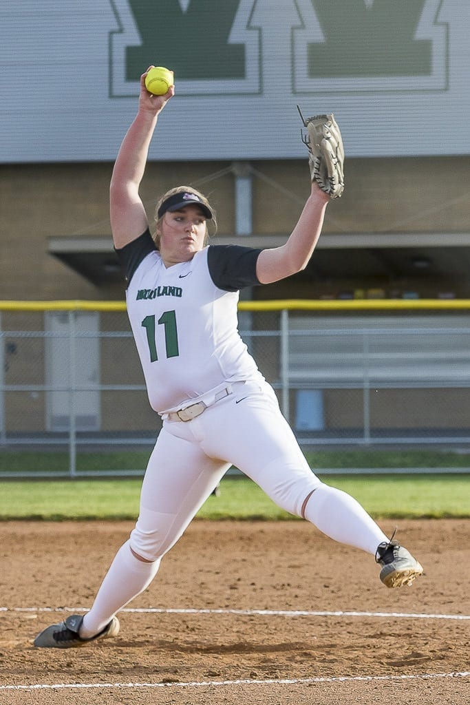 Olivia Grey, shown here earlier in the season, struck out 69 batters in four wins in the state tournament as Woodland won the Class 2A title. Photo by Mike Schultz