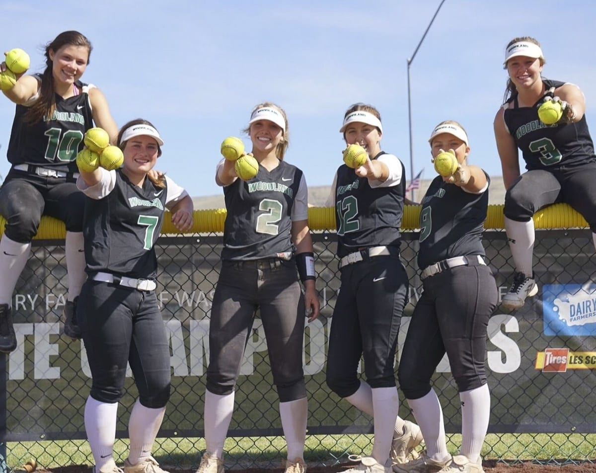 Six Woodland Beavers combined to hit 10 home runs at the state tournament. From left to right, Payten Foster, Kaily Christensen, Lila Russell, Chloe Eddy, Carleigh Risley, and Kelly Sweyer. Photo courtesy of Woodland High School.
