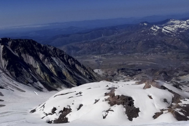 The crater of Mount St. Helens is seen from the summit. Photo by Eric Schwartz