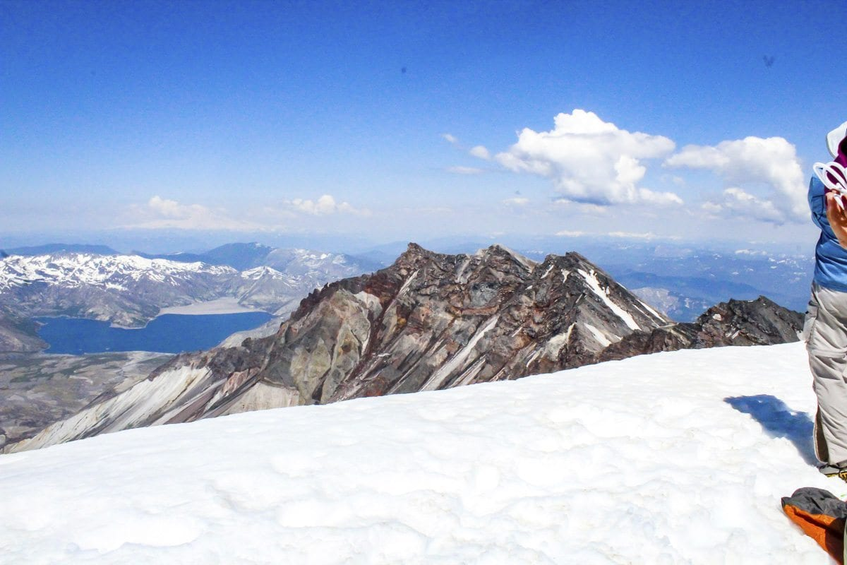 The view at the summit of Mount St. Helens. Photo by Eric Schwartz