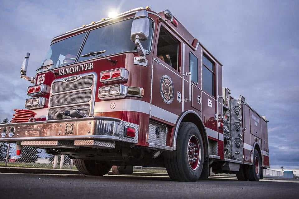 A Vancouver Fire Department truck is seen in this photograph included with the announcement of the new fire station on Facebook. Photo courtesy of Vancouver Fire Department