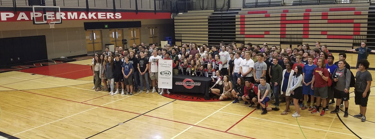 These are just some of the thousand or so from Camas who participate in WIAA athletics and/or activities and helped the school win the 2017-18 Scholastic Cup. Photo by Paul Valencia