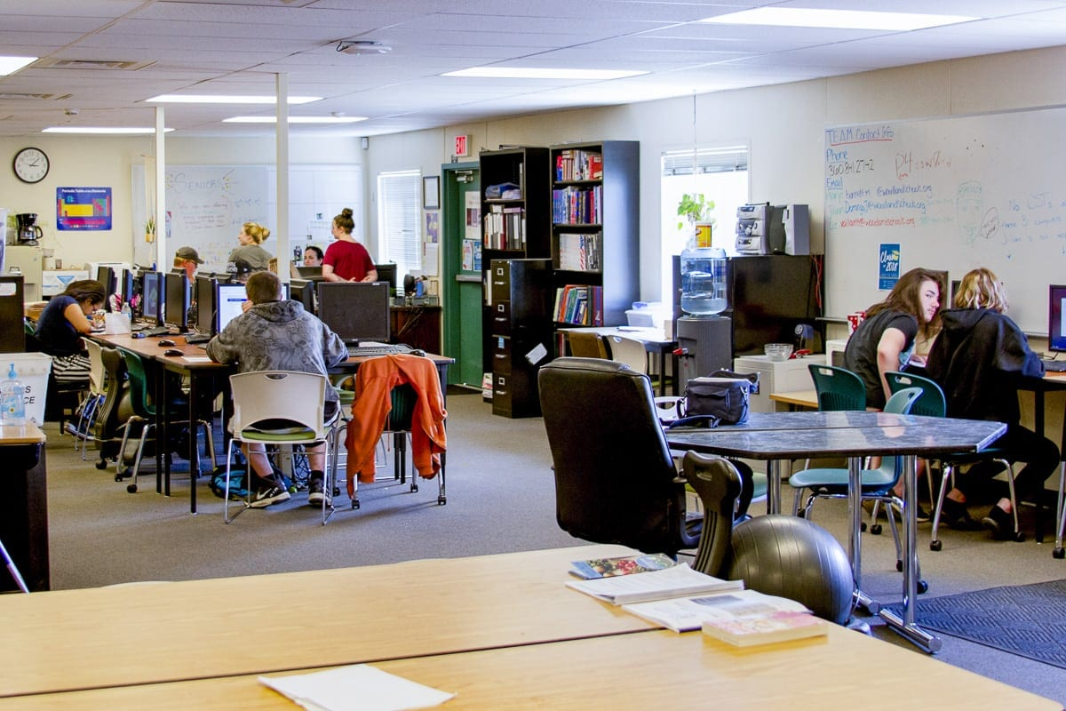 The dedicated TEAM High School classroom provides students with the resources they need in a less-formal, non-traditional classroom environment. Photo courtesy of Woodland Public Schools