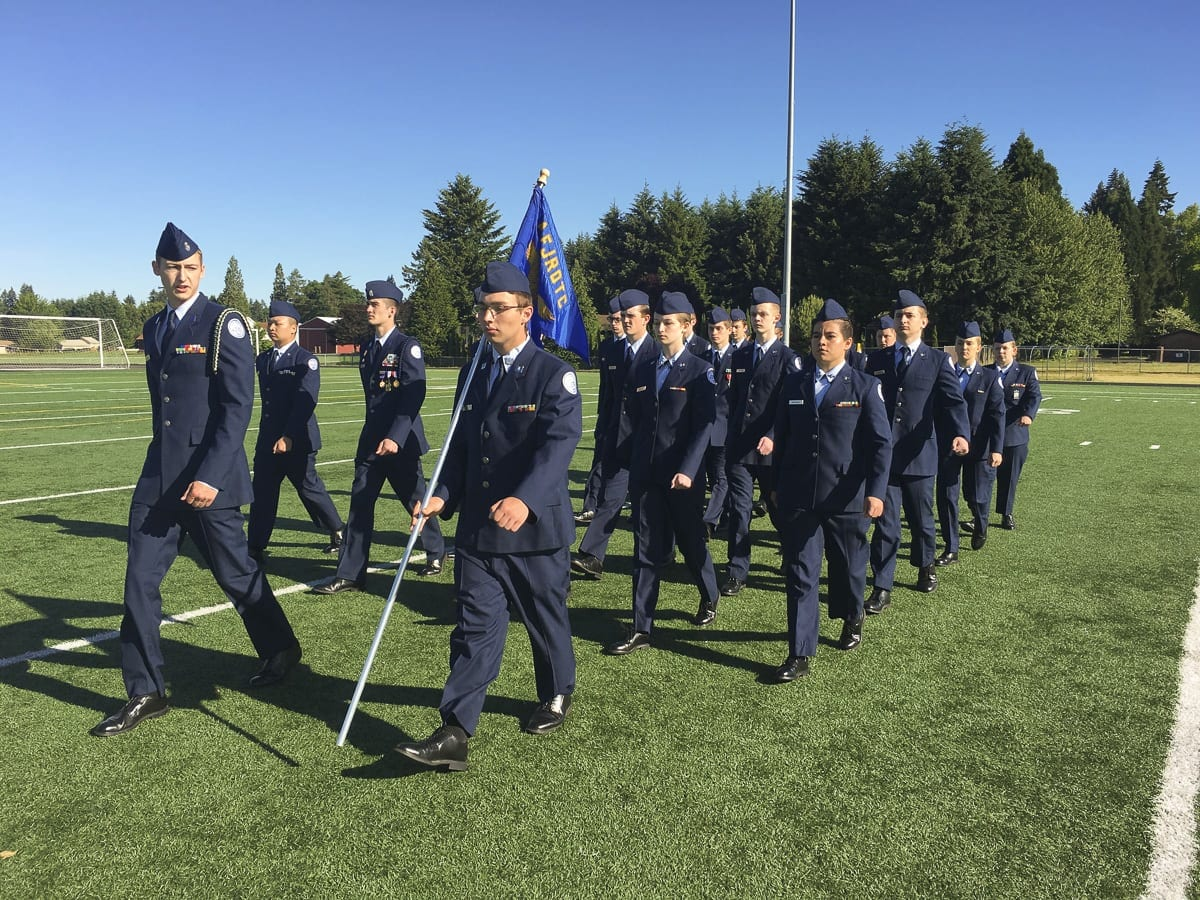 Battle Ground Public Schools Air Force Junior Reserve Officer Training Corps held its annual Pass in Review on Saturday morning at Prairie High School. Photo courtesy of Battle Ground Public Schools