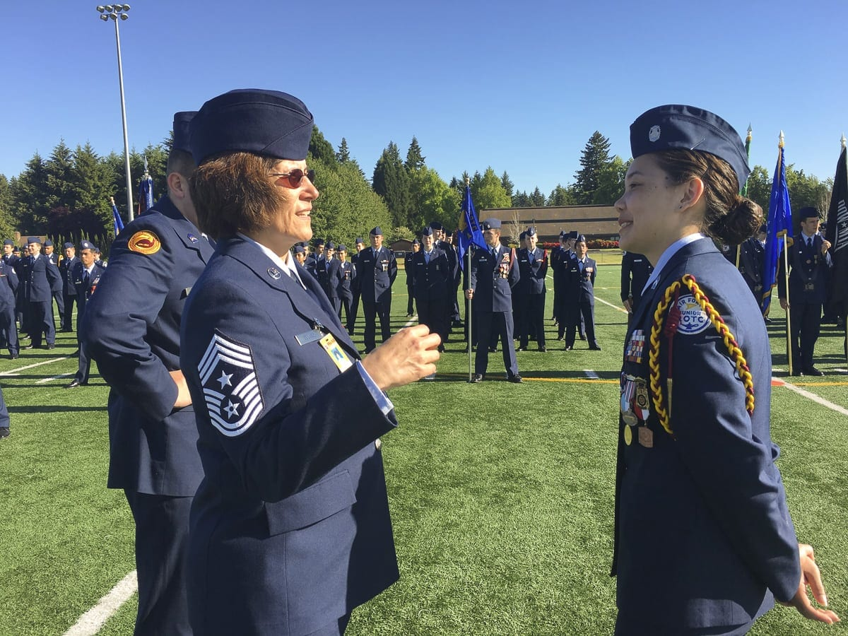Pass in Review is a long-standing military tradition that began as a way for the newly assigned commander to inspect troops. The district uses this tradition to celebrate student accomplishments and dedication to the AFJROTC program. Photo courtesy of Battle Ground Public Schools