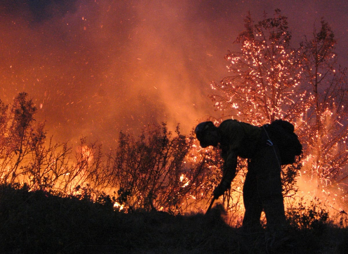 A firefighter battles a wildfire in this photograph published on the Bureau of Land Management's website.
