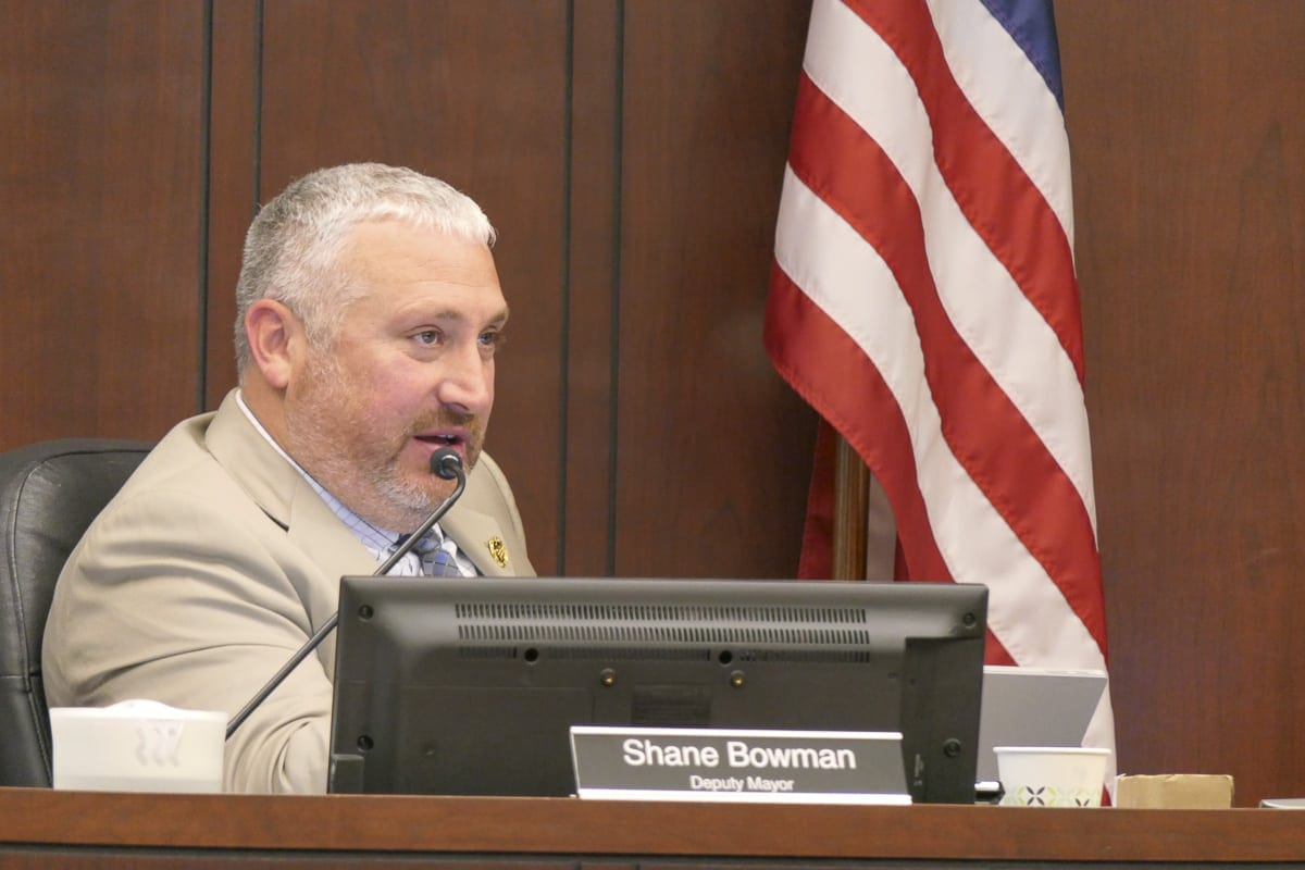 Battle Ground Deputy Mayor Shane Bowman asks a question during a hearing on fireworks rules enforcement. Photo by Chris Brown