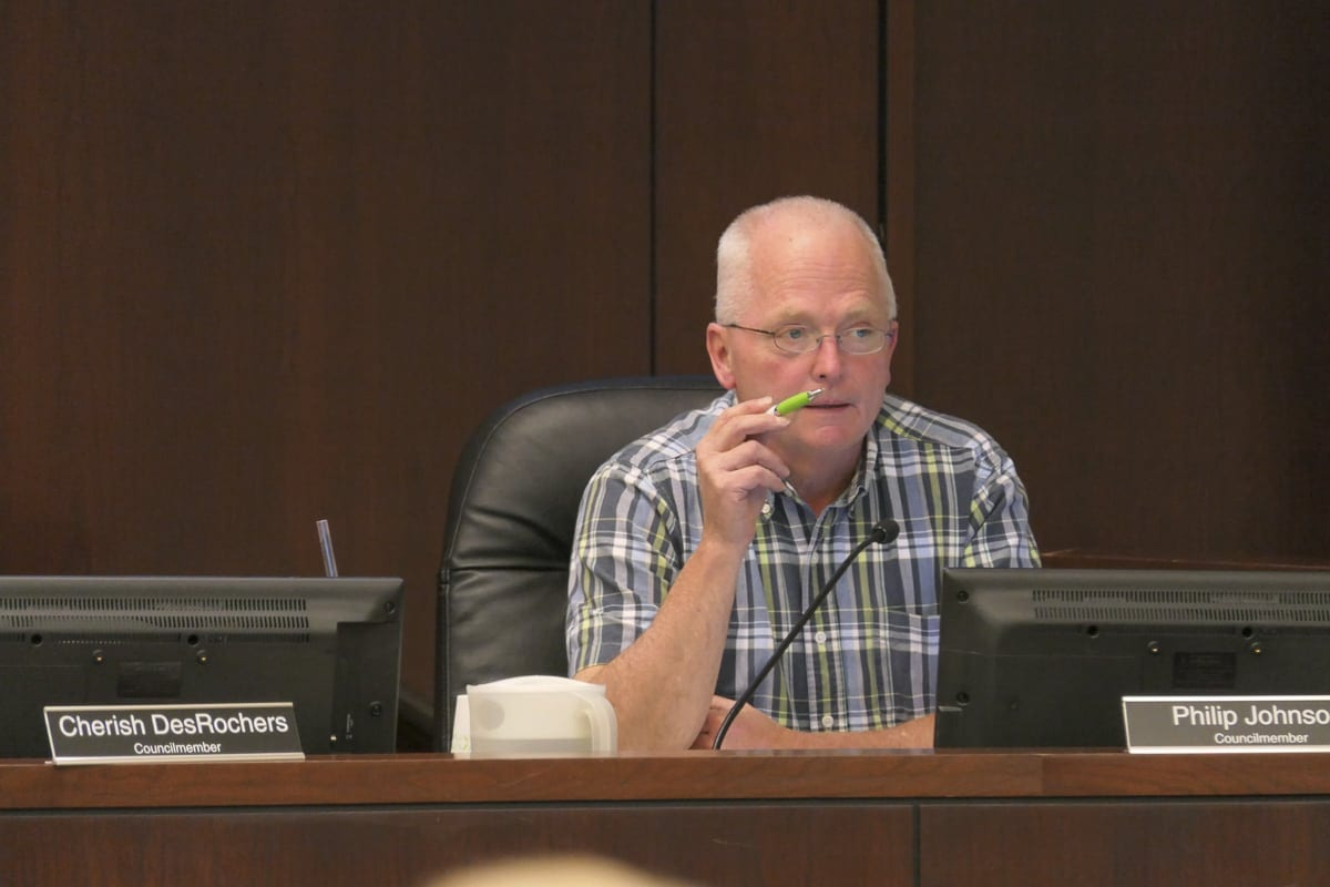 Battle Ground City Council Member Philip Johnson makes a point during a hearing about new fines for fireworks rules violations. Johnson was the only member to vote no. Photo by Chris Brown