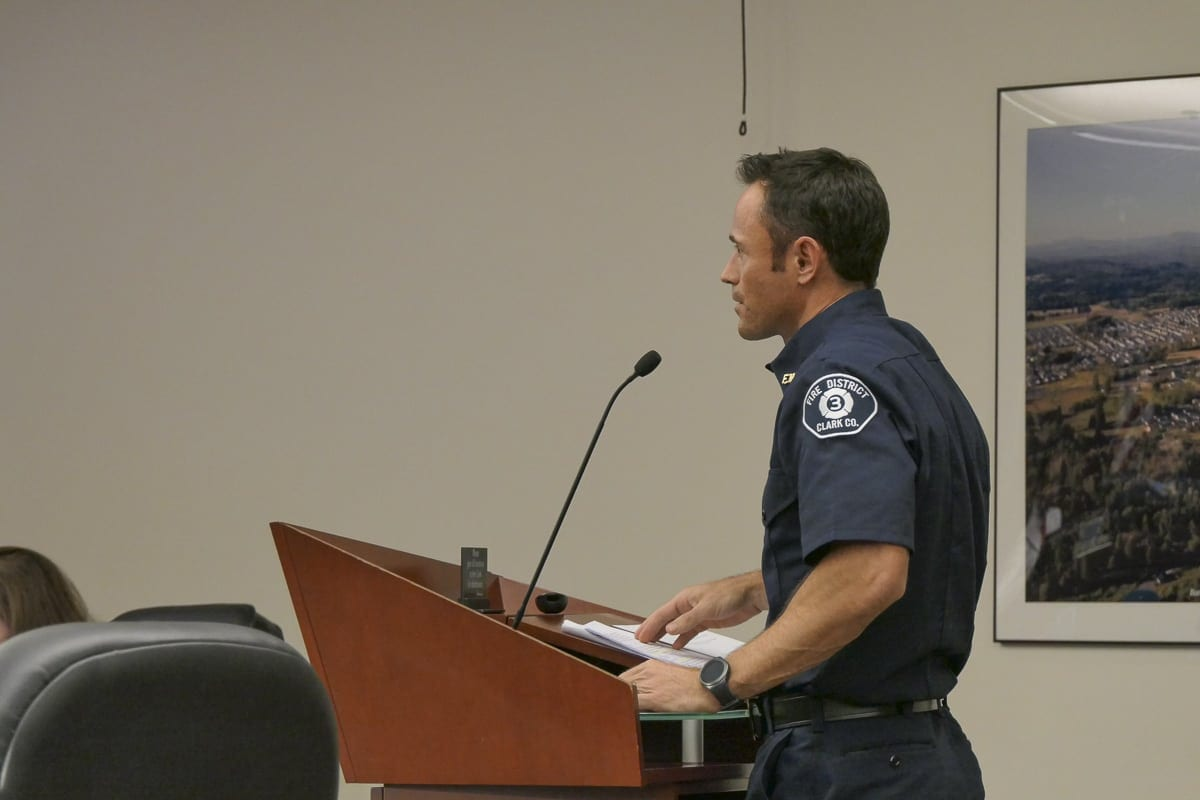 Battle Ground Fire Marshal Chris Drone speaks to city council members about fireworks rules enforcement. Photo by Chris Brown