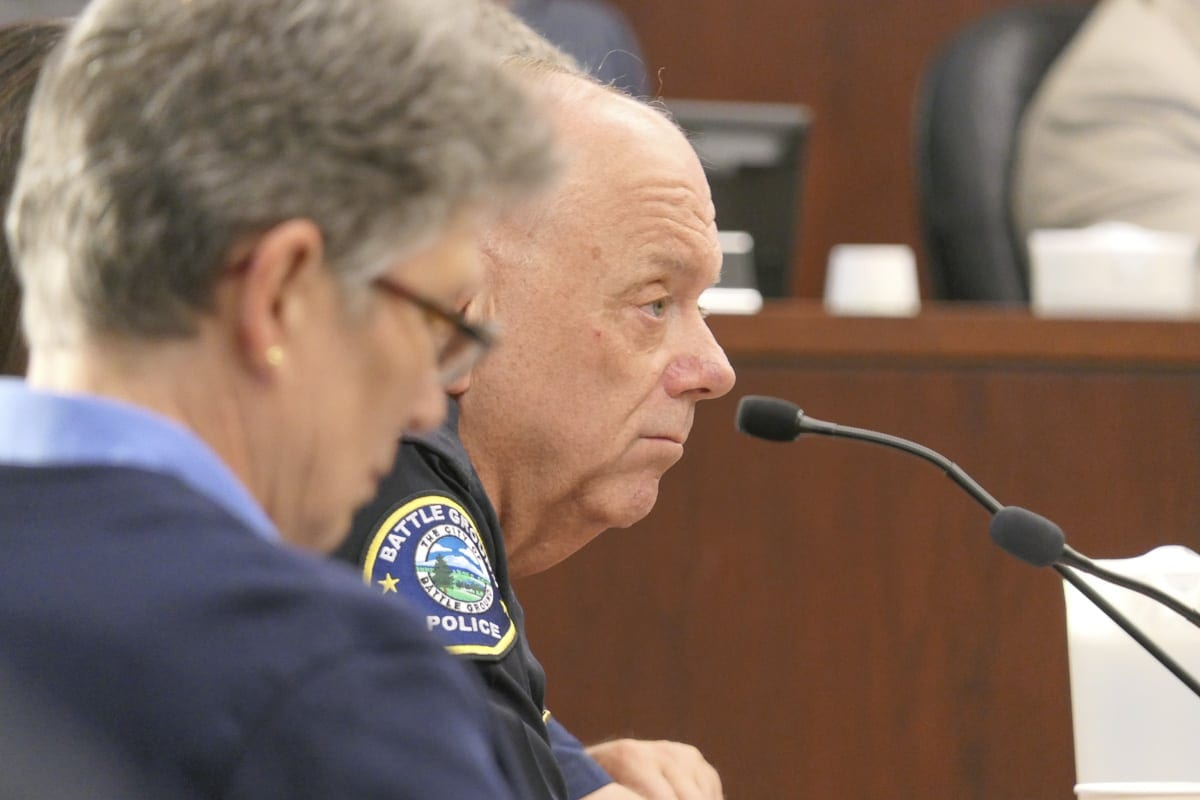 Battle Ground Police Chief Bob Richardson looks on during a city council meeting on fireworks enforcement. His officers will now be assisting the fire marshal's office with enforcing new rules. Photo by Chris Brown