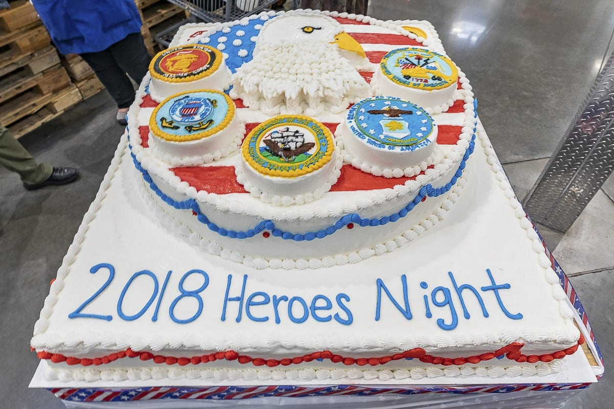 Bakers at Costco took four days to create this cake in honor of Heroes Night. The event benefits the Community Military Appreciation Committee. Photo by Mike Schultz