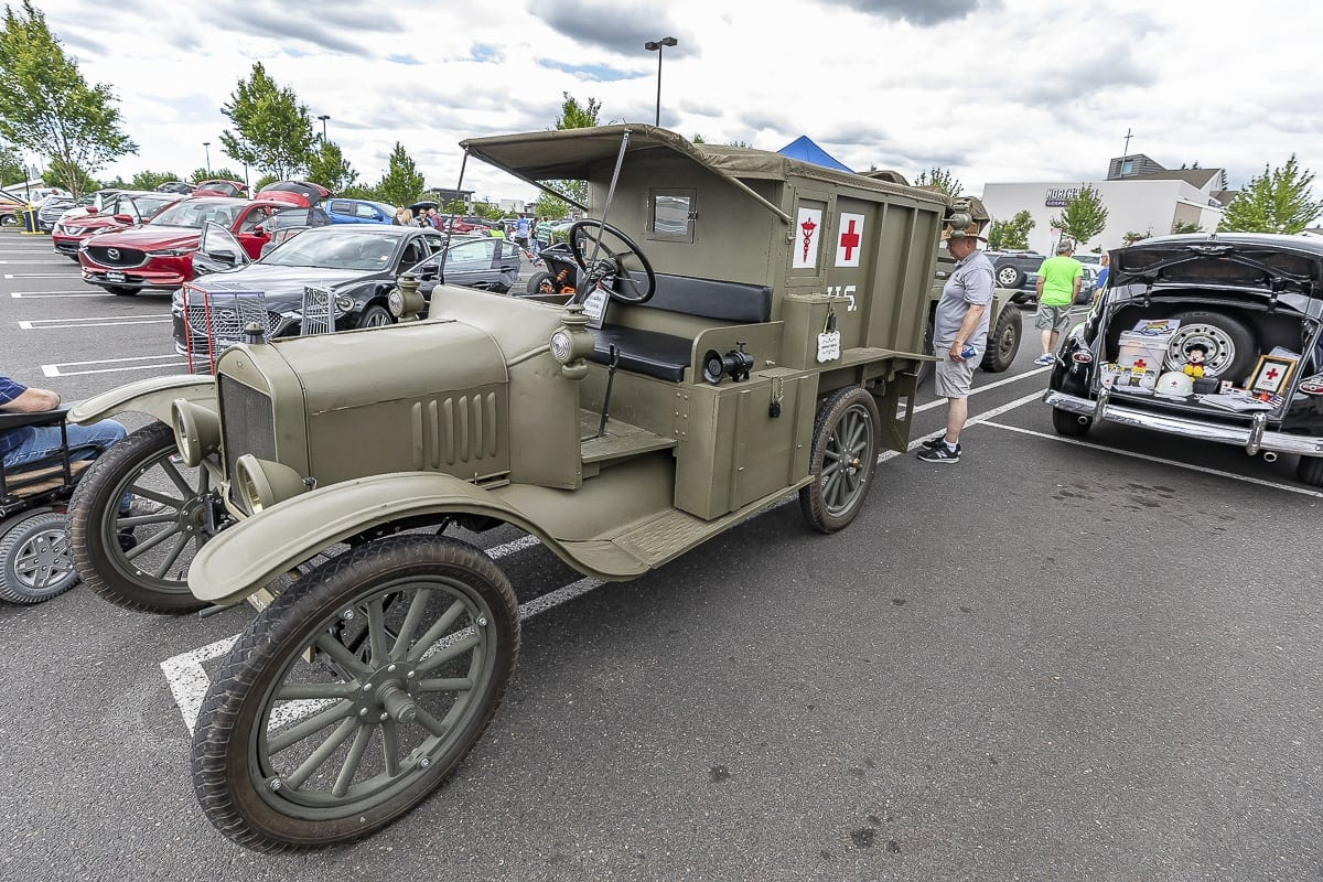 The Vancouver Barracks brought a 1917 Army ambulance to Heroes Night. Photo by Mike Schultz