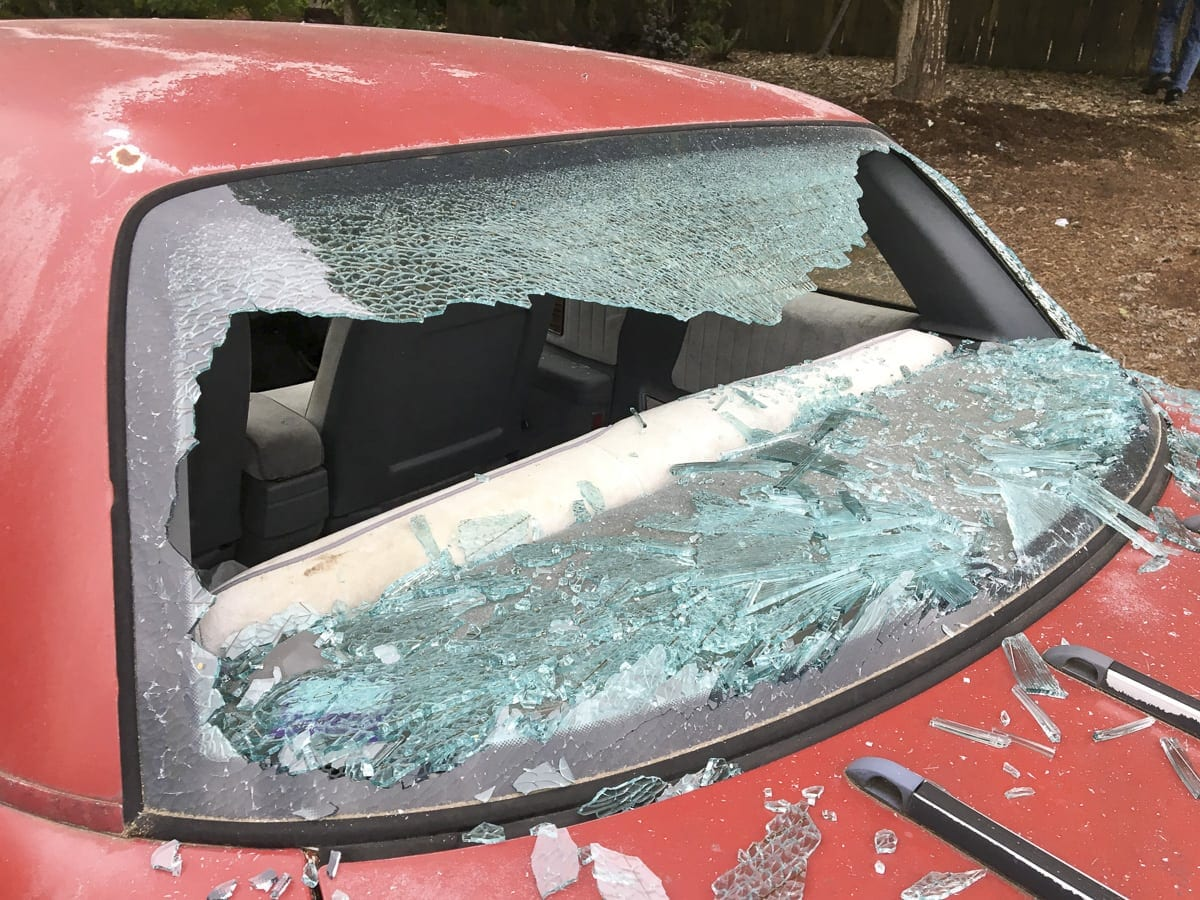 People all around Battle Ground woke up June 8 to find their car windows smashed. Photo courtesy Battle Ground Police Department