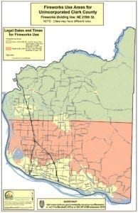 This map provided by Clark County shows the regulations for fireworks in unincorporated areas of Clark County.