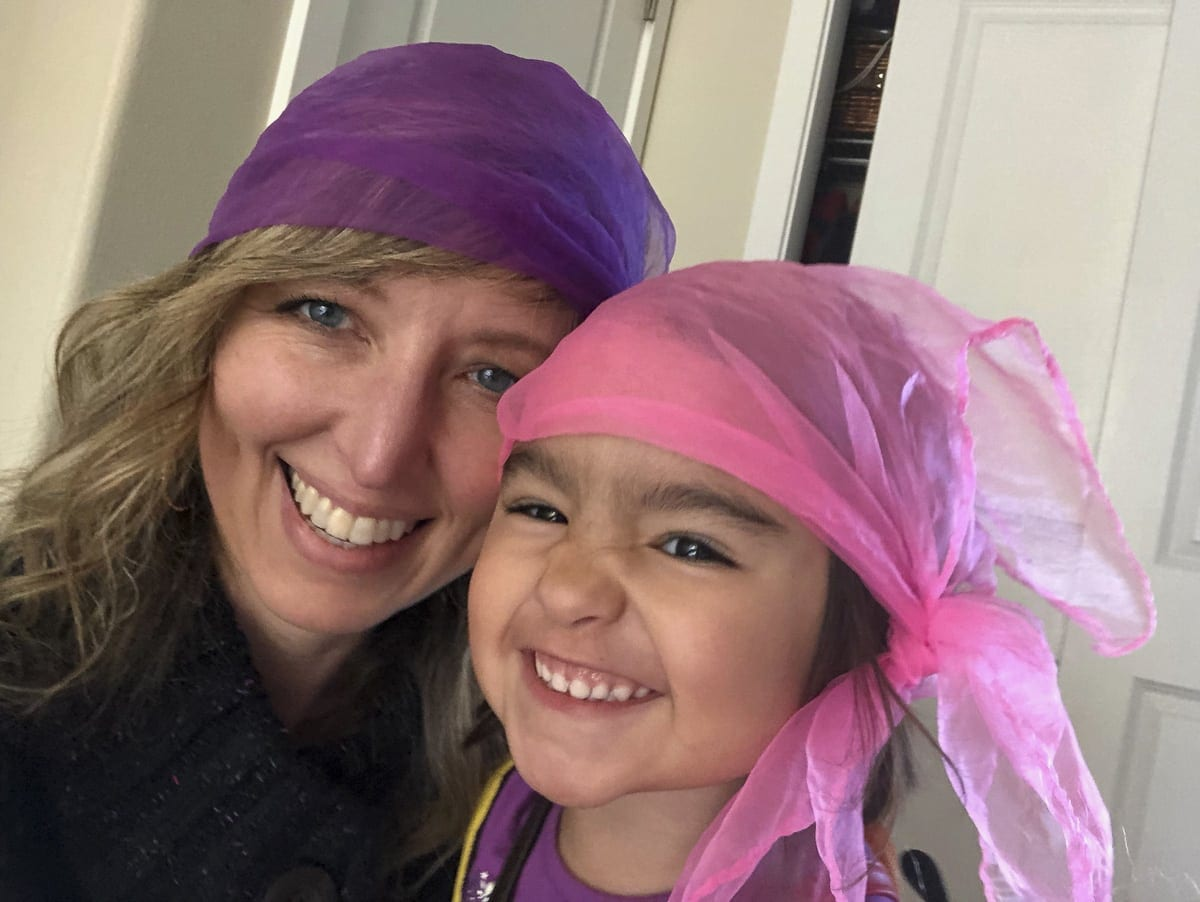 Things you do with children — nanny Heidi Wetzler and this little one play dress up, this time as pirates. Photo by Heidi Wetzler
