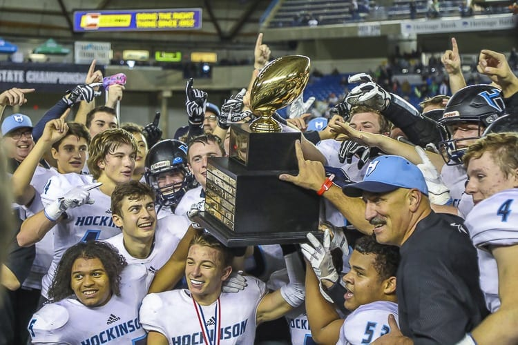 The Hockinson Hawks were one of eight Clark County teams to win state championships in the 2017-18 high school athletic calendar. Later, there were local team champions in bowling, gymnastics, boys swimming, softball, boys soccer, boys track and field, and boys tennis. Photo by Mike Schultz