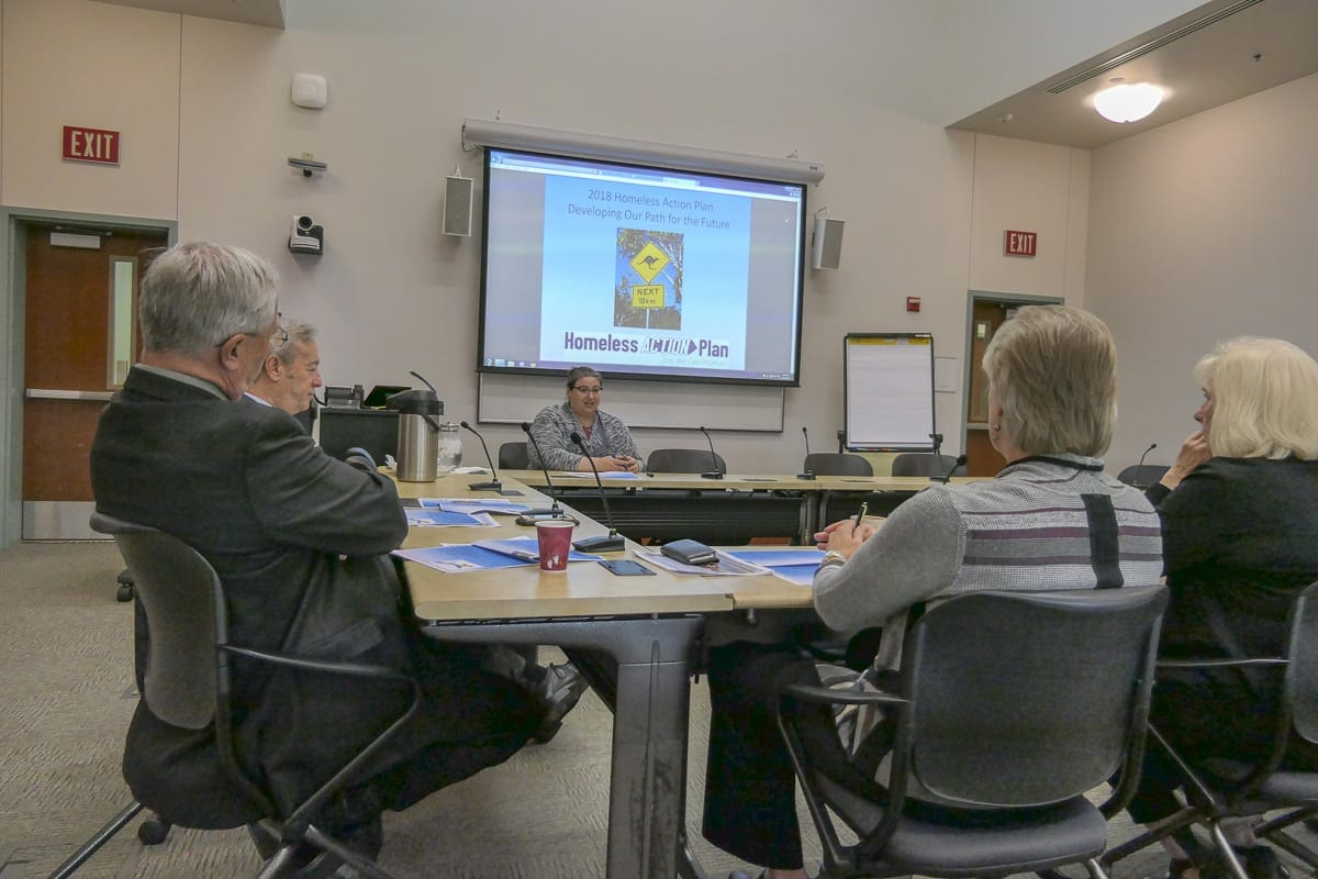 Council for the Homeless Executive Director Kate Budd talks with Clark County Council members at a recent work session. Photo by Chris Brown