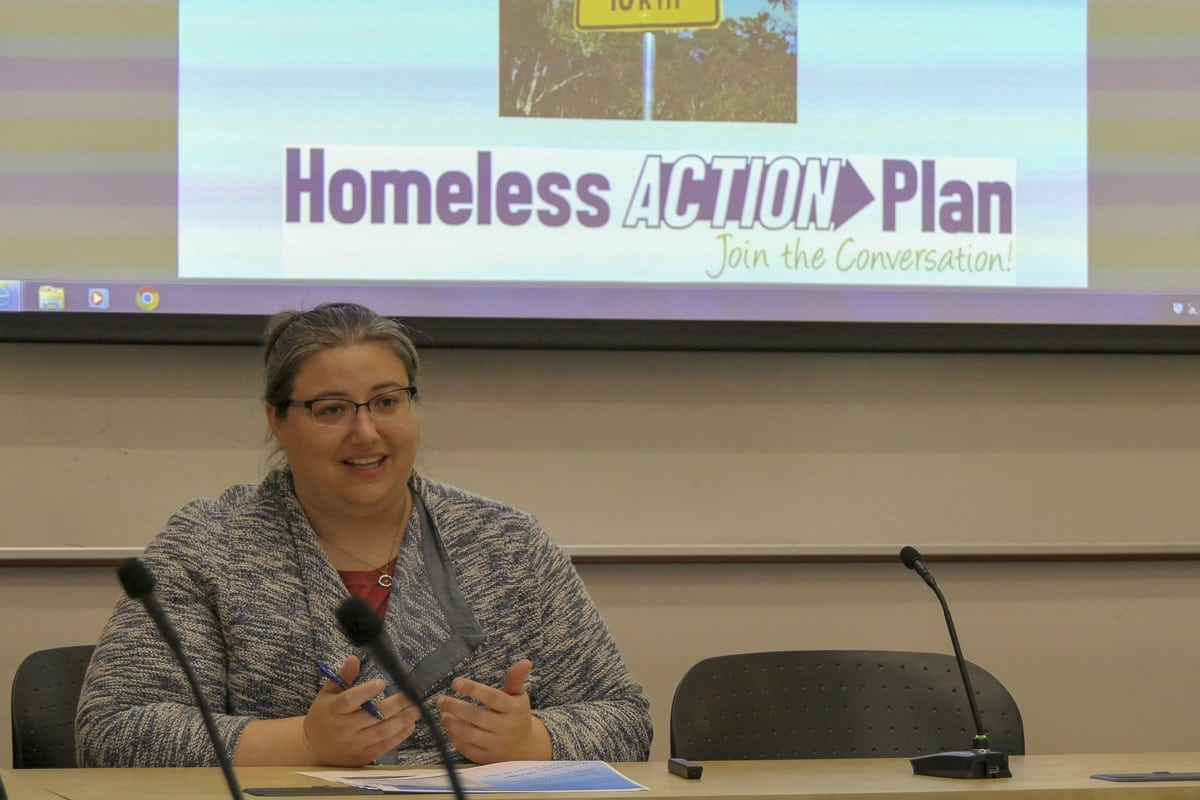 Council for the Homeless Executive Director Kate Budd is shown here at a recent Clark County Council work session. Photo by Chris Brown