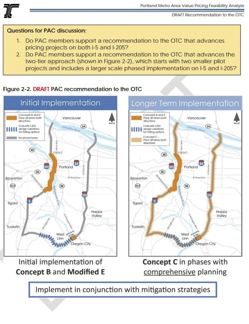 This draft report details the likely direction ODOT is headed ahead of the June 25 Value Pricing Public Advisory Committee meeting. Photo courtesy of ODOT