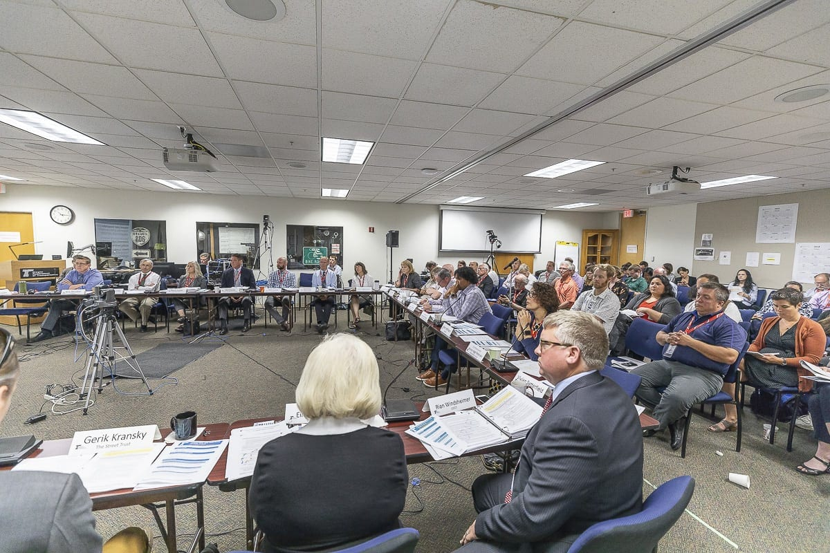 There was a packed house at ODOT headquarters in Northwest Portland for the final meeting of the Value Pricing Public Advisory Committee. Photo by Mike Schultz