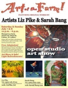 Area artists, businesswomen and friends Liz Pike and Sarah Bang are joining forces for a two-day art show on Saturday and Sunday, July 7 and 8 from noon to 6 p.m. each day.