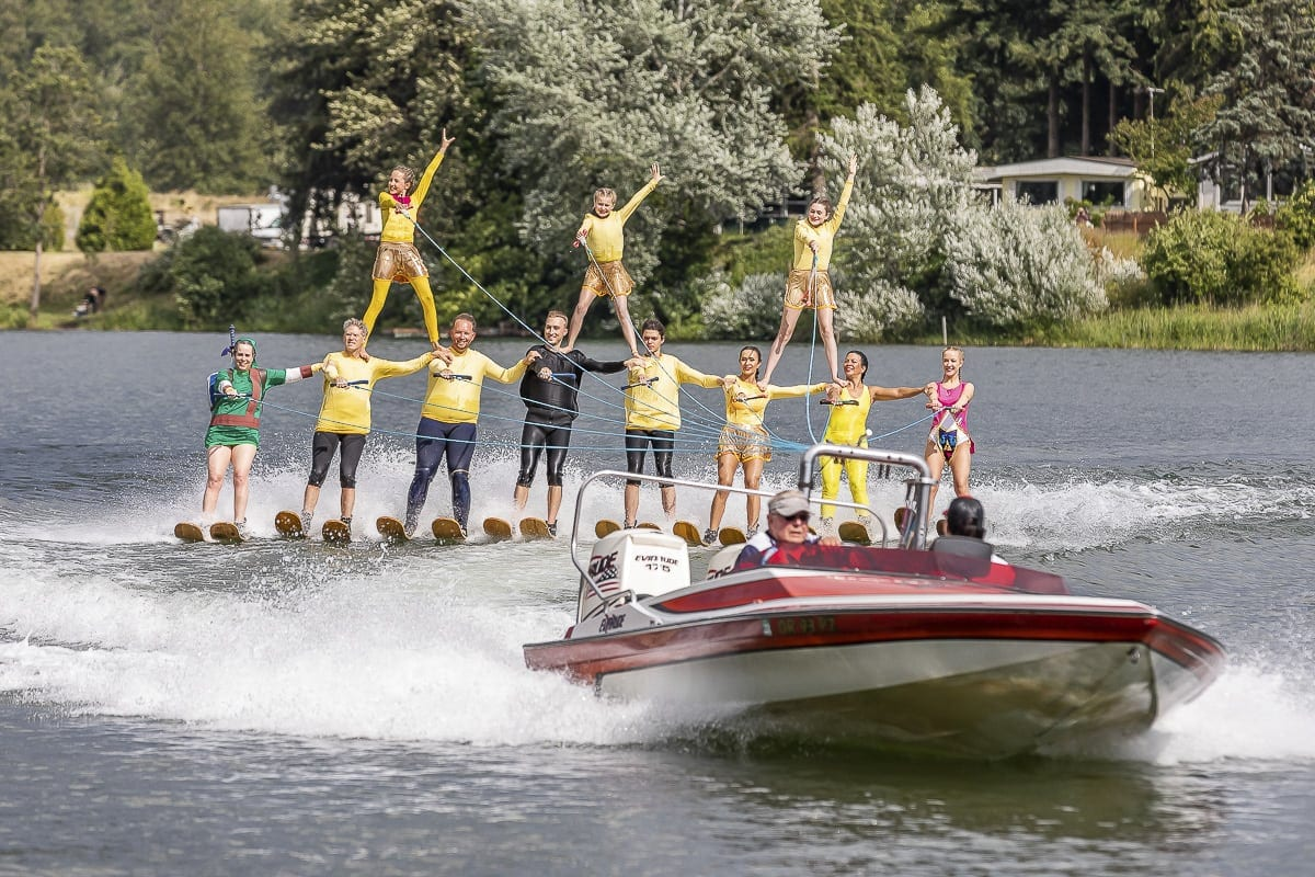 The Portland Water Spectacular Show Ski Team performed on Saturday, with barefoot skiing, ballet lines, human pyramids, jumps, and various other stunts. Photo by Mike Schultz