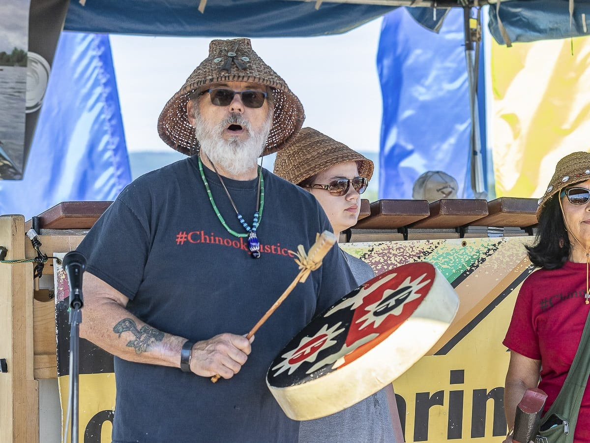 Sam Robinson is seen during the Chinook tribal blessing at the Ridgefield Big Paddle Saturday. Photo by Mike Schultz