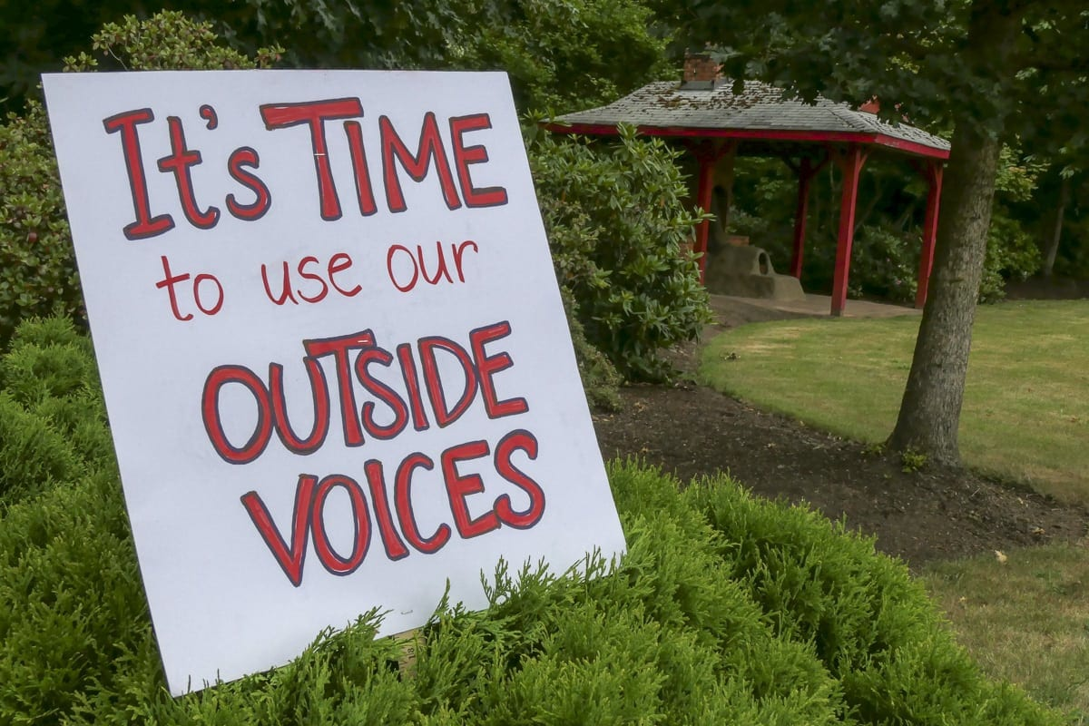 A sign outside a Battle Ground Teacher rally at the district office. Photo by Chris Brown