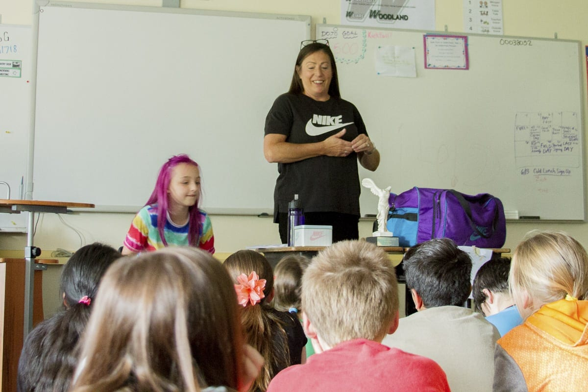 Corinn Campbell, a seamstress for Nike, taught Woodland Intermediate School students about working Nike as well as the challenges designing clothes for professional athletes. Photo courtesy of Woodland School District