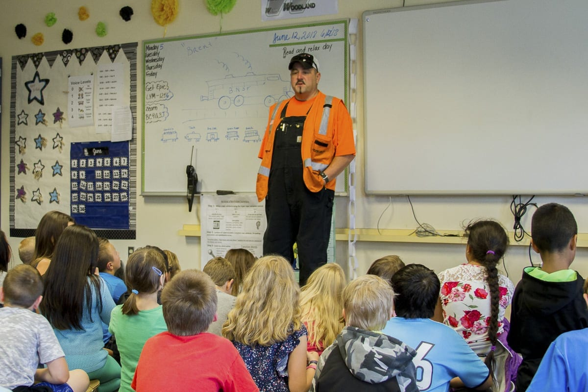 Brent Estep, a railroad engineer for BNSF Railway, taught Woodland Intermediate School students about different railroad jobs as well as the importance of railway safety. Photo courtesy of Woodland School District