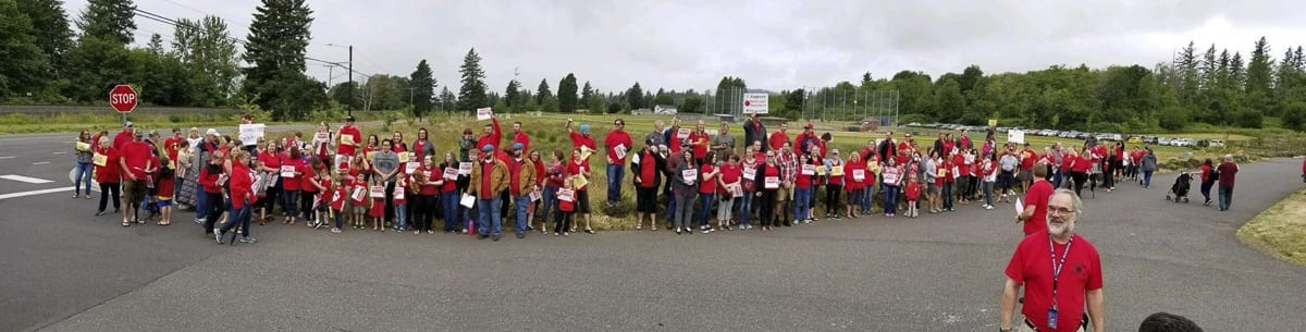Washougal teachers, parents, and students rally to support a pay increase. Photo courtesy Washougal Education Association