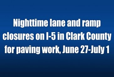 Nighttime lane and ramp closures on I-5 in Clark County for paving work, June 27-July 1