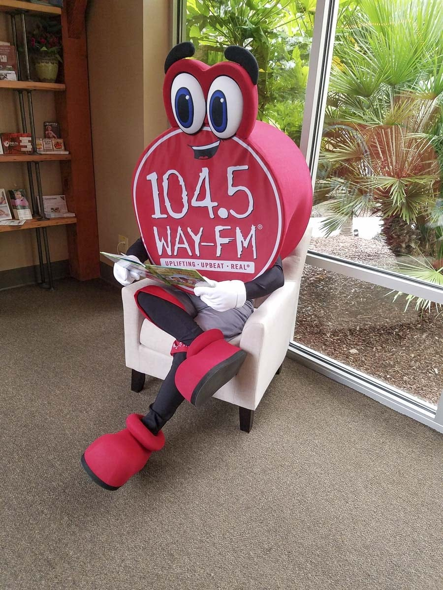 "Dot the Mascot, always with a smile on her face, is in the final preparations for her debut as the ""face"" of 104.5 WAY-FM. Photo by Paul Valencia"