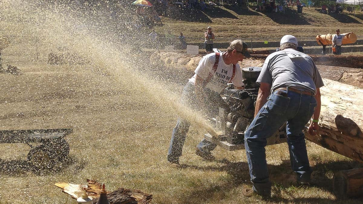 Hot saw demonstrations featured chainsaws powered by car engines at the Amboy Territorial Days Saturday. Photo by Michael McCormic, Jr.
