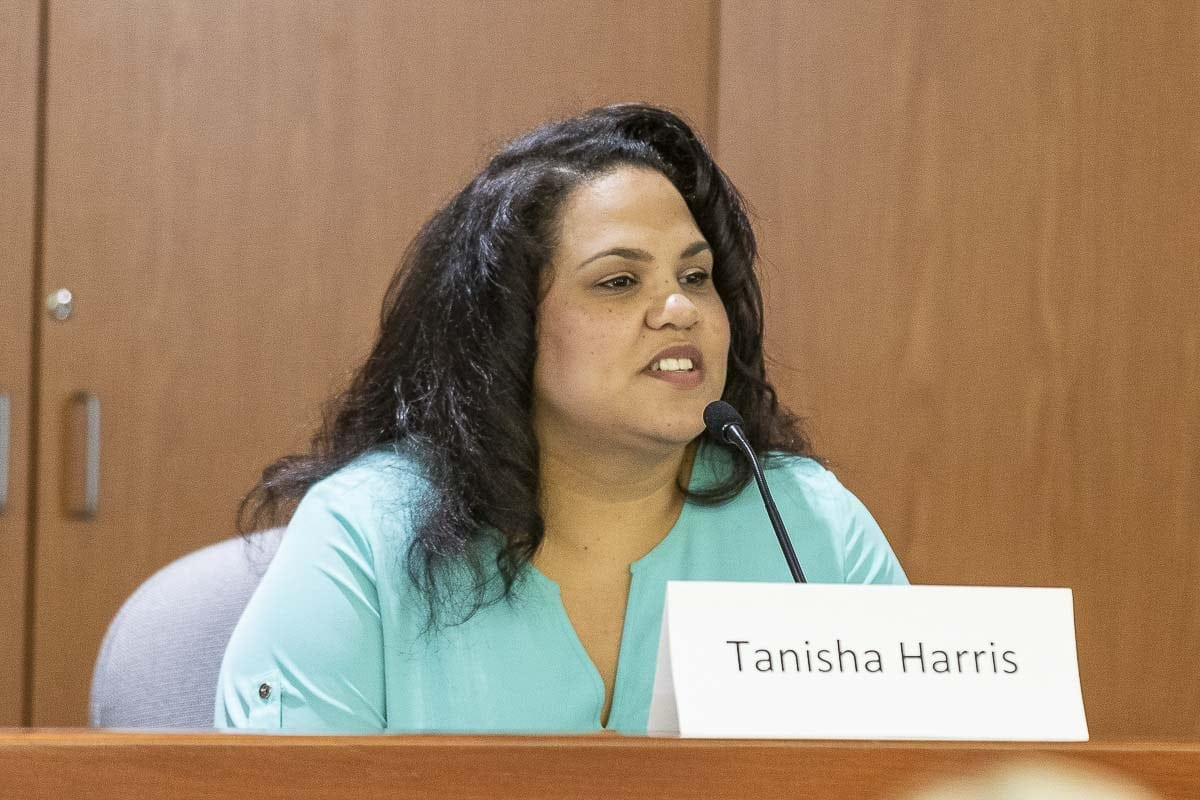Tanisha Harris, one of two candidates for State Representative Position 1 in the 17th Legislative District, is shown here Saturday at the League of Women Voters of Clark County candidate forum. Photo by Mike Schultz