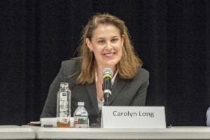 Carolyn Long answers questions at a 3rd Congressional District candidate forum at Clark College. Photo by Mike Schultz