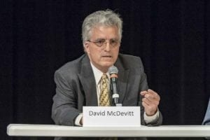 David McDevitt answers questions at a 3rd Congressional District candidate forum at Clark College. Photo by Mike Schultz