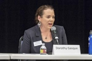 Dorothy Gasque answers questions at a 3rd Congressional District candidate forum at Clark College. Photo by Mike Schultz