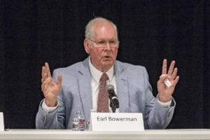 Earl Bowerman answers questions at a 3rd Congressional District candidate forum at Clark College. Photo by Mike Schultz