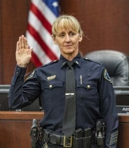 Lt. Kim Armstrong Martocello is sworn in as Battle Ground's first female police lieutenant. Photo by Mike Schultz