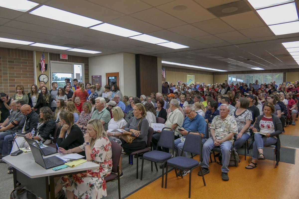 An overflow crowd showed up Monday night at the Battle Ground School Board meeting at the Lewisville Campus. Photo by Chris Brown
