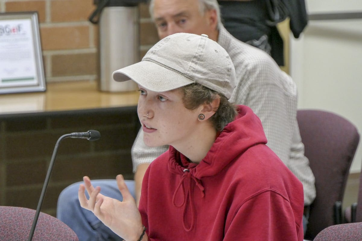 Shayden Sayles, who was born female but identifies as male, talks to members of the Battle Ground School Board during Monday's meeting. Photo by Chris Brown