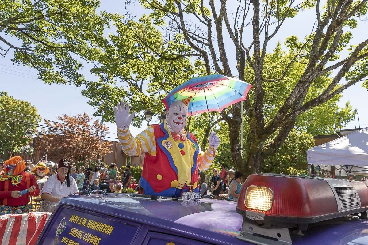 Members of the Southwest Washington Afifi Shrine Clowns were among the participants in the Camas Days parade Saturday. Photo by Mike Schultz