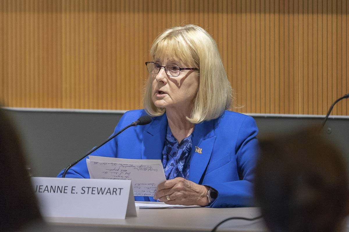Clark County Councilor Jeanne Stewart answers questions at a forum for candidates running for District 1. Photo by Mike Schultz