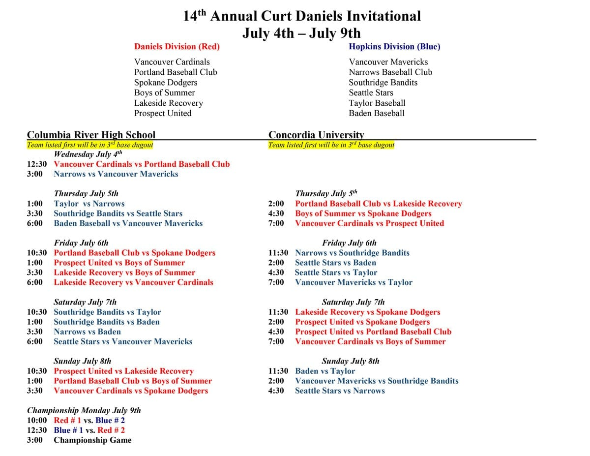 Curt Daniels Tournament schedule. Click for PDF.