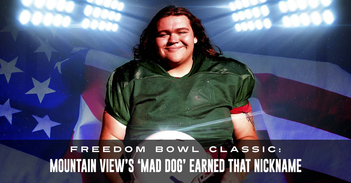 Tyler Black of Mountain View had his Mad Dog nickname taken away from him by a coach when he was a freshman at Evergreen. He would have to earn it. Oh, he did. Now, Black and that coach are together again for Saturday night's Freedom Bowl Classic. Photo by Paul Valencia