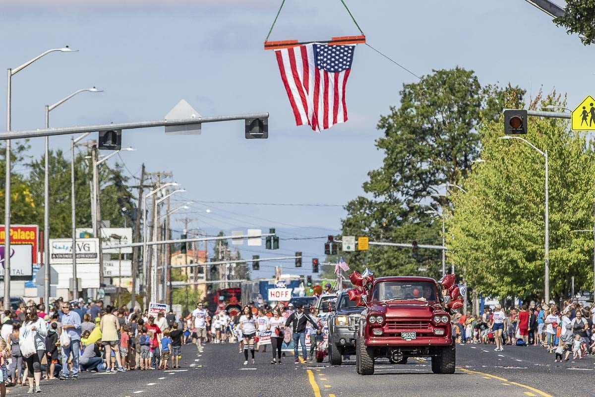Parade floats from across Clark County appeared in the Harvest Days Parade, and nearly every area community was represented by a float, be it a business, church, political campaign, or veterans association. Photo by Mike Schultz