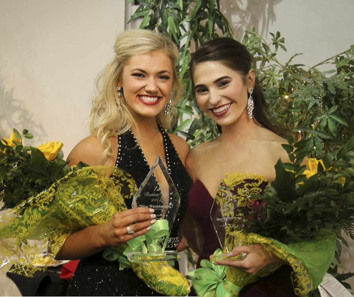 Abbie Kondel (left) and Kallie Hutchinson, both of Clark County, finished as first and second runner-up at last weekend's Miss Washington pageant in Burien. Photo courtesy Sheri Backous
