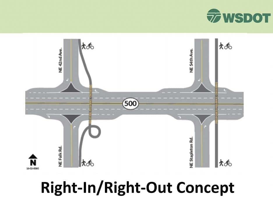 The right-in, right-out concept, shown here, is what WSDOT is focusing on to fix traffic safety issues on SR-500. Image courtesy WSDOT